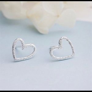 Heart Stud Earrings Genuine 925 Sterling Silver